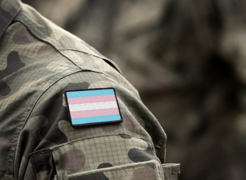 Transgender Pride Flag on military uniform