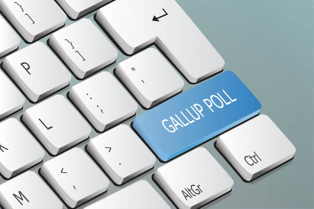 Gallup poll written on the keyboard button